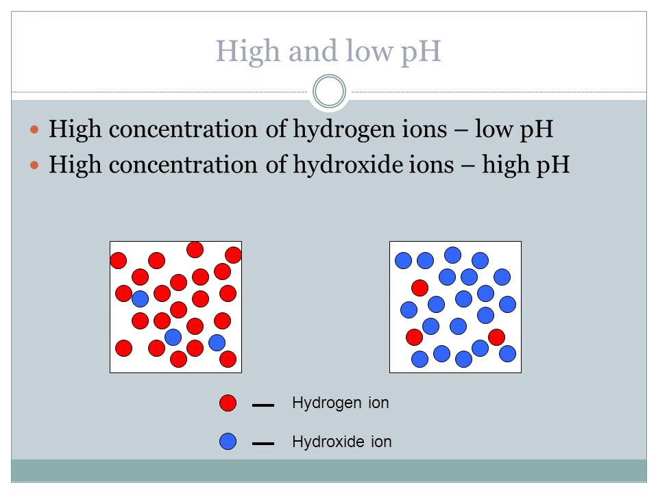 High and low pH High concentration of hydrogen ions – low pH