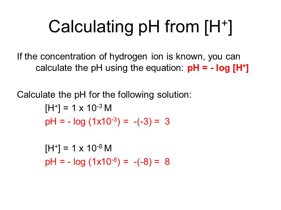 Calculating pH from [H+]