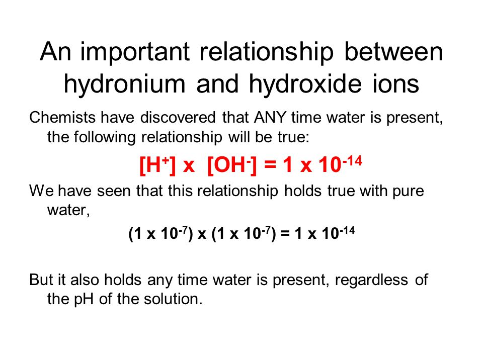 An important relationship between hydronium and hydroxide ions