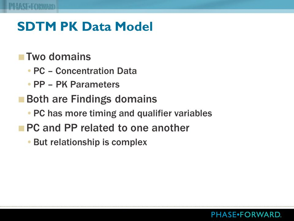 SDTM PK Data Model Two domains Both are Findings domains