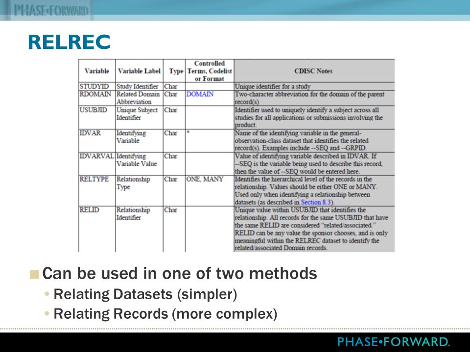 RELREC Can be used in one of two methods Relating Datasets (simpler)
