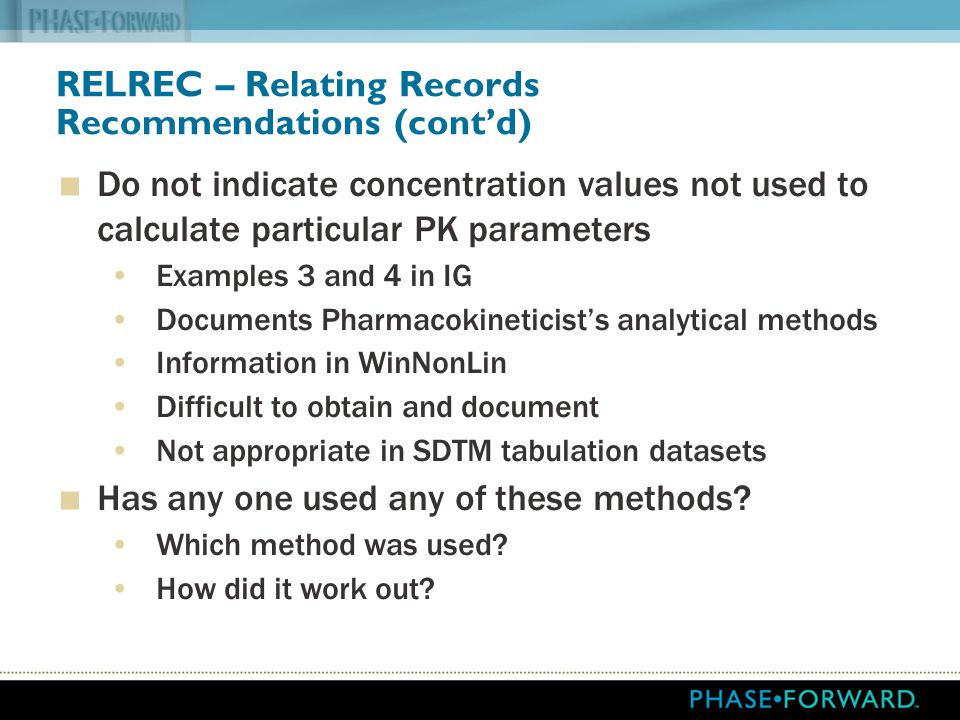 RELREC – Relating Records Recommendations (cont'd)