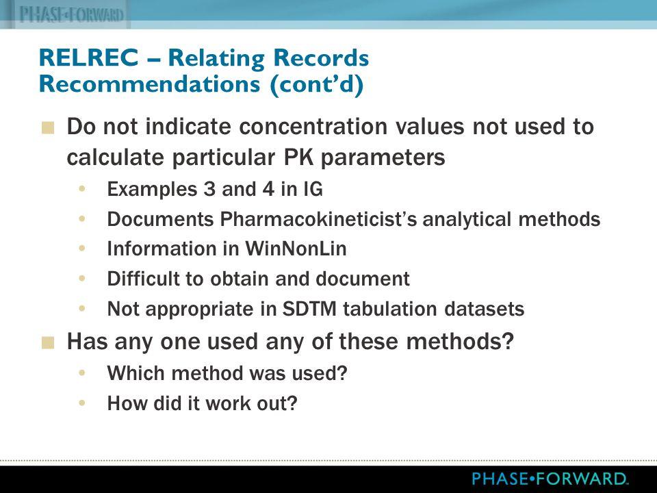 RELREC – Relating Records Recommendations (cont'd)
