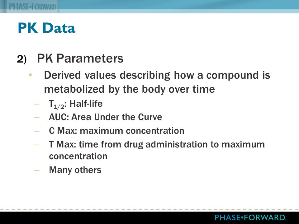 PK Data PK Parameters. Derived values describing how a compound is metabolized by the body over time.