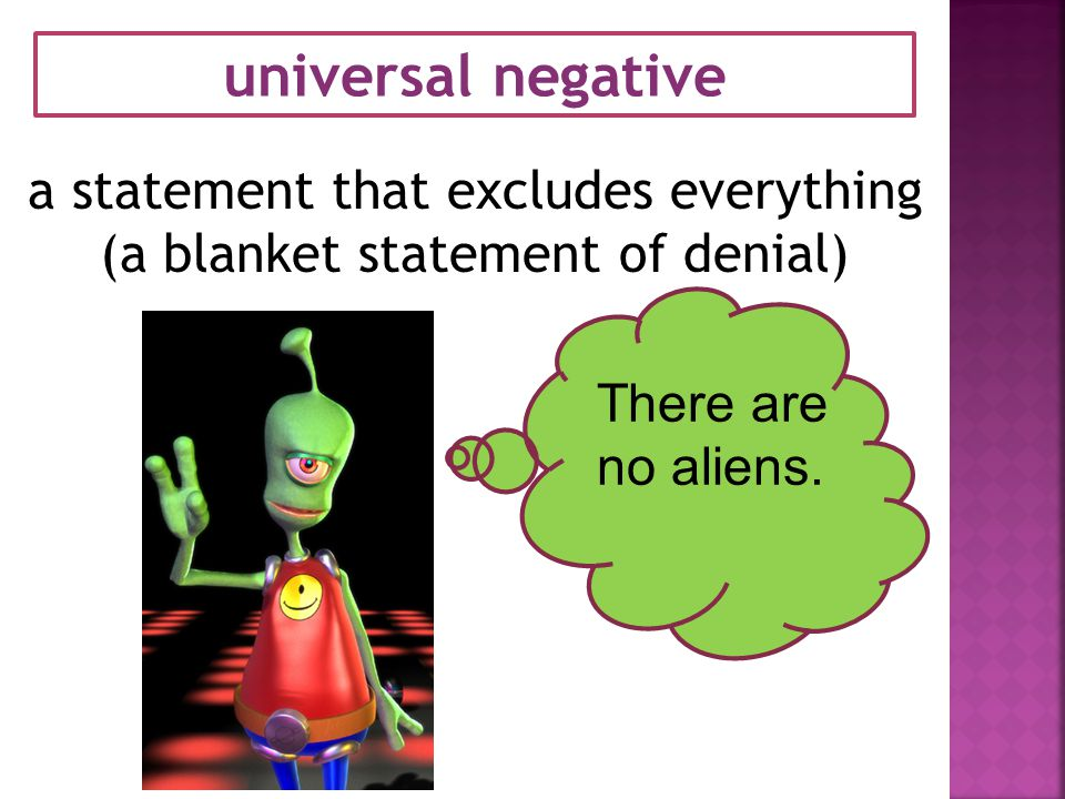 universal negative a statement that excludes everything