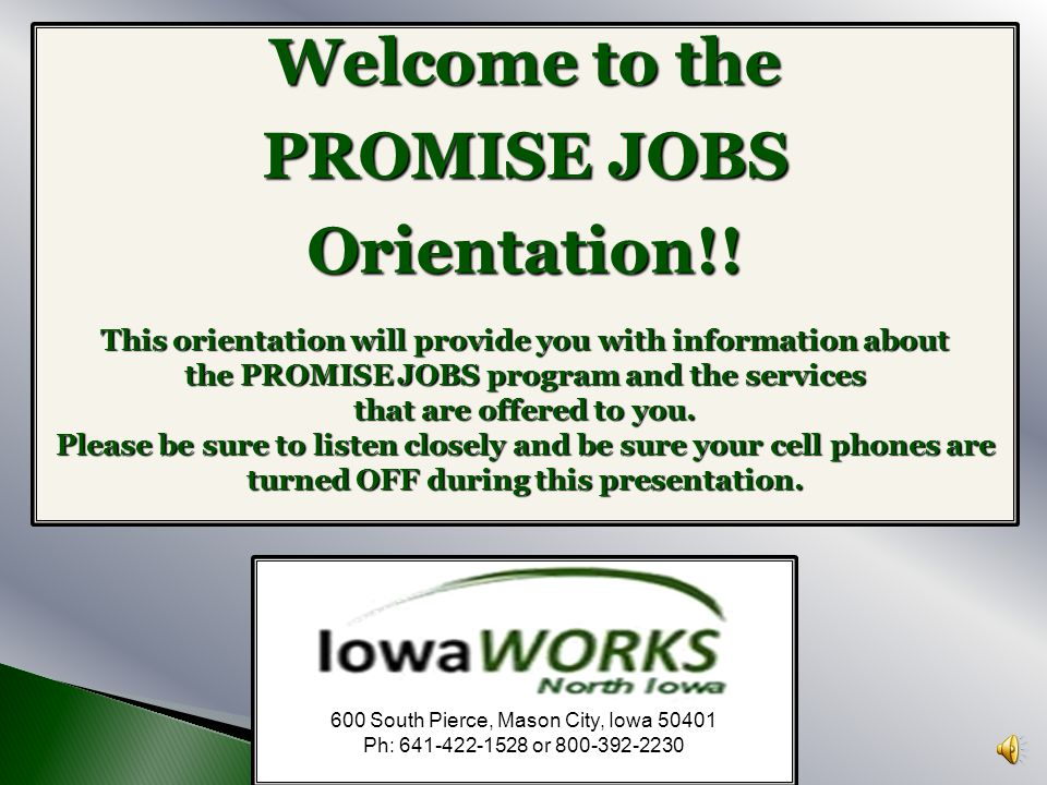 Welcome to the PROMISE JOBS Orientation!!