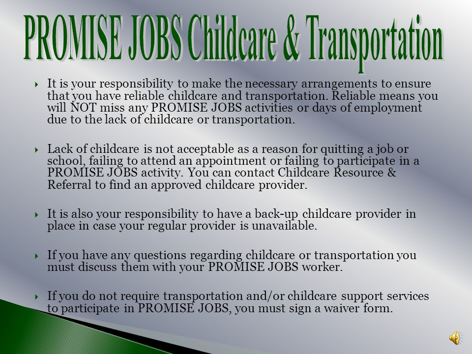 PROMISE JOBS Childcare & Transportation