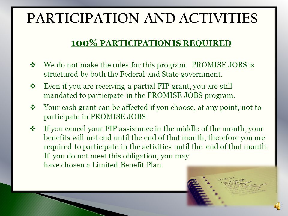 100% PARTICIPATION IS REQUIRED PARTICIPATION AND ACTIVITIES
