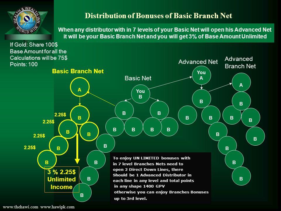Distribution of Bonuses of Basic Branch Net