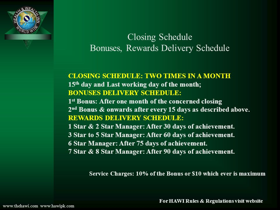 Bonuses, Rewards Delivery Schedule