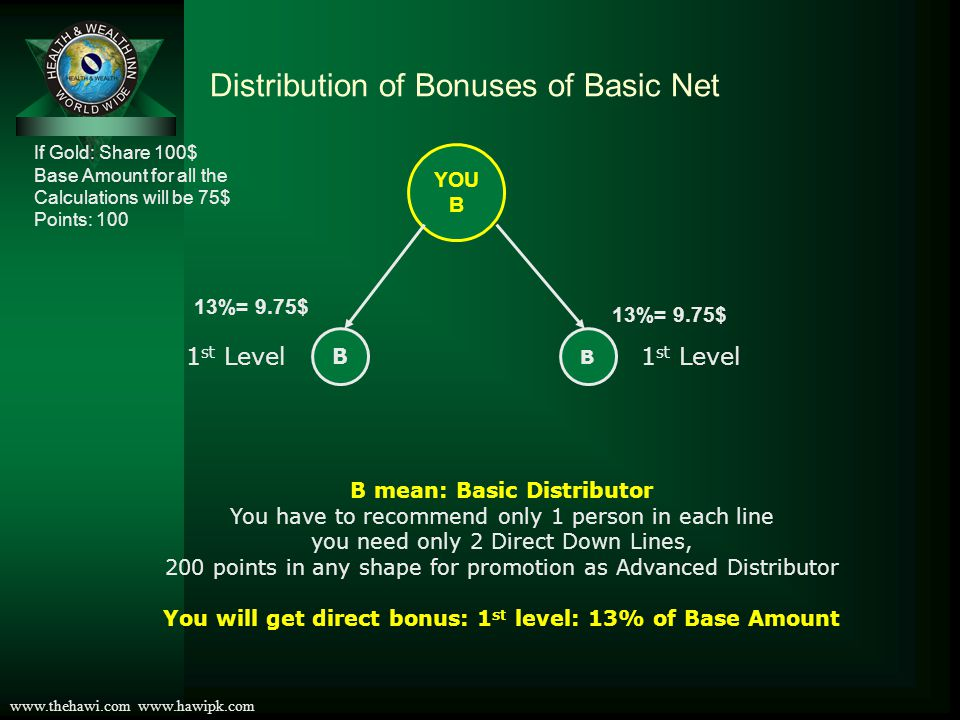Distribution of Bonuses of Basic Net