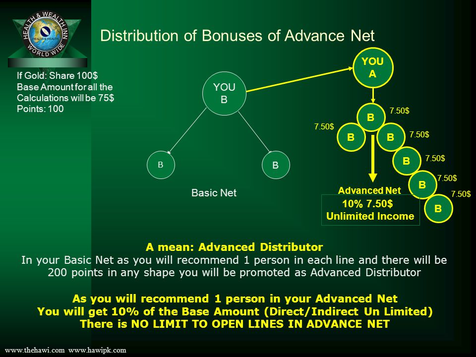 Distribution of Bonuses of Advance Net