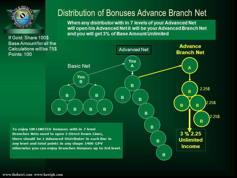 Distribution of Bonuses Advance Branch Net