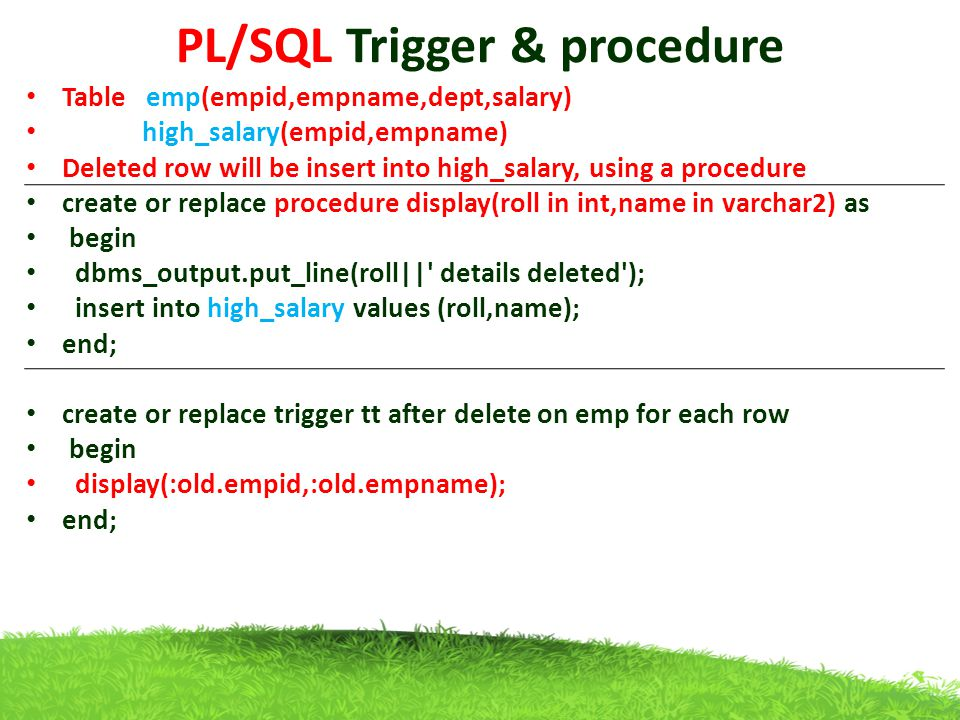 PL/SQL Trigger & procedure