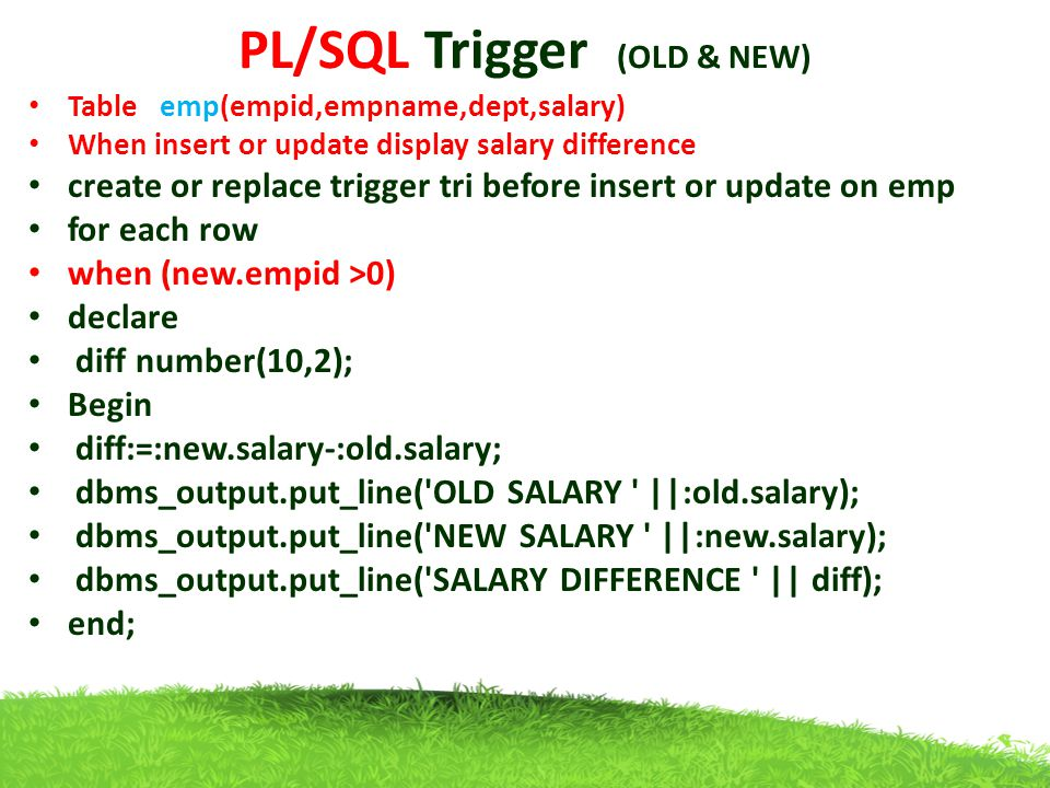 PL/SQL Trigger (OLD & NEW)