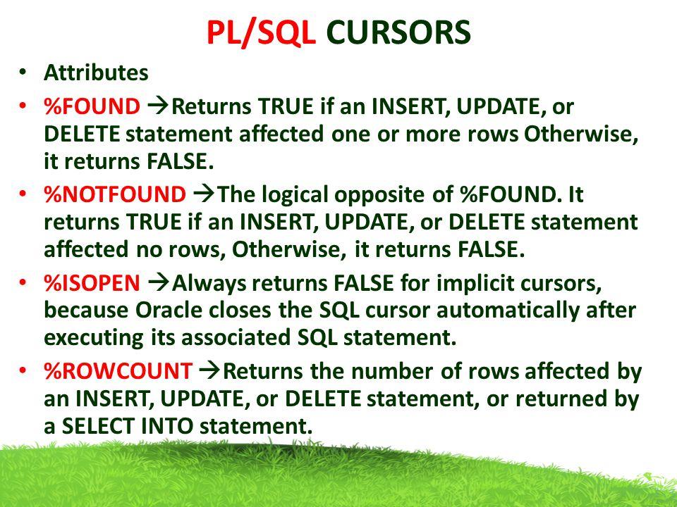 PL/SQL CURSORS Attributes
