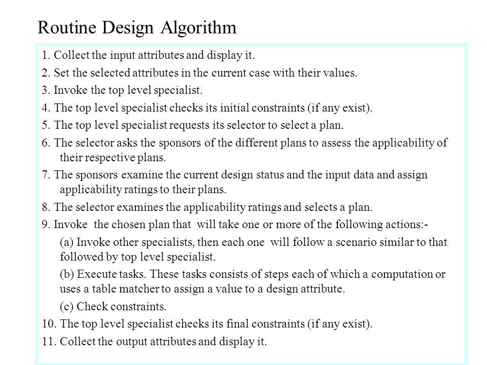 Routine Design Algorithm