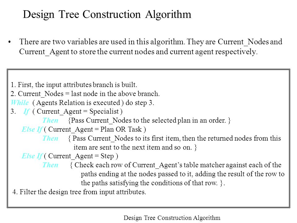 Design Tree Construction Algorithm