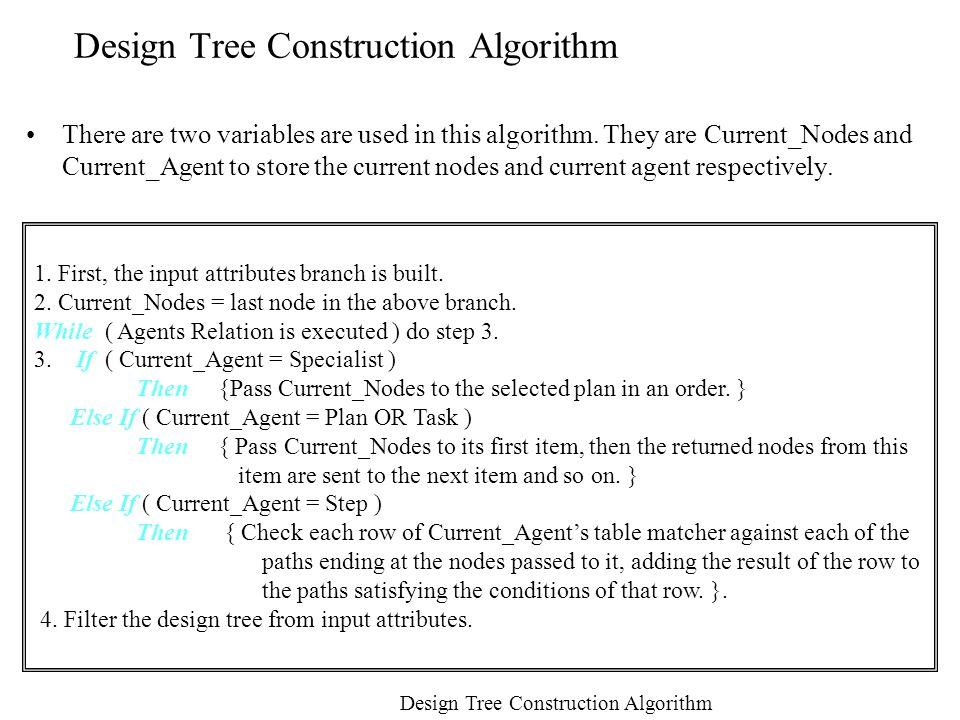 Design Tree Construction Algorithm