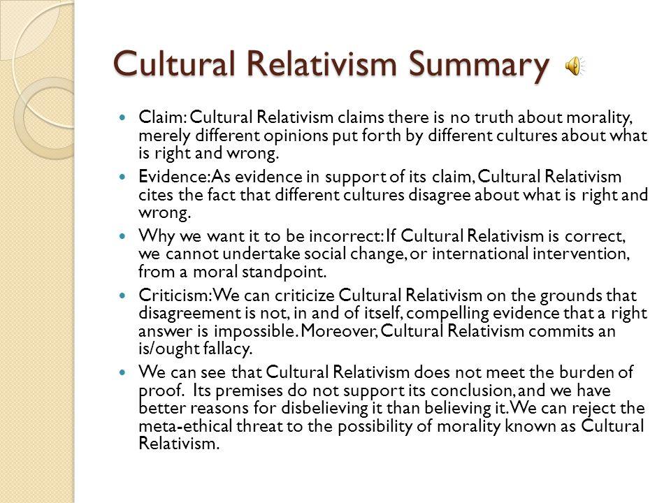 Cultural Relativism Summary