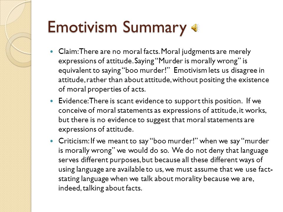 Emotivism Summary