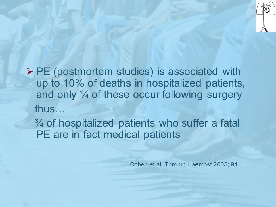 PE (postmortem studies) is associated with up to 10% of deaths in hospitalized patients, and only ¼ of these occur following surgery