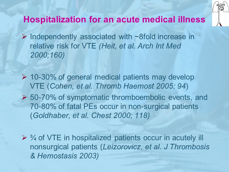 Hospitalization for an acute medical illness