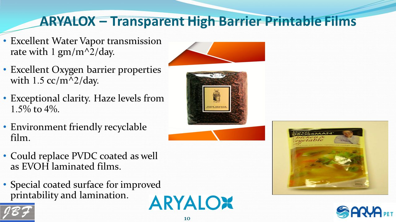 ARYALOX – Transparent High Barrier Printable Films