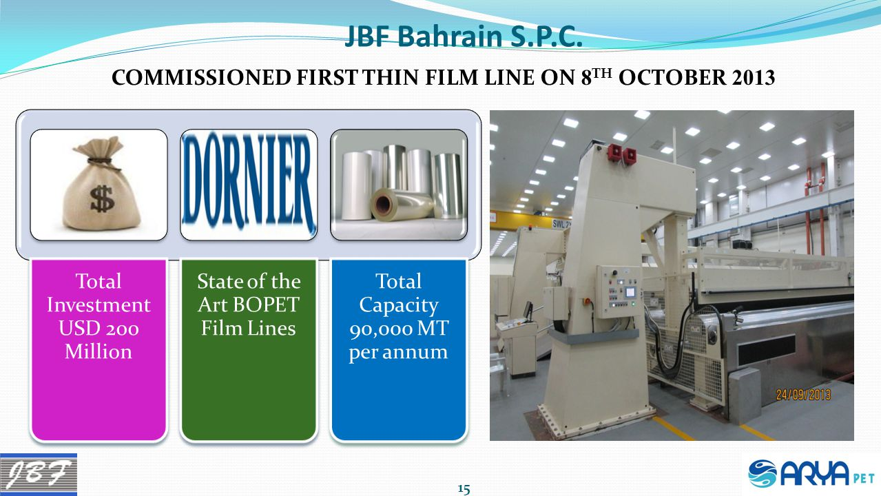JBF Bahrain S.P.C. COMMISSIONED FIRST THIN FILM LINE ON 8TH OCTOBER 2013. Total Investment USD 200 Million.