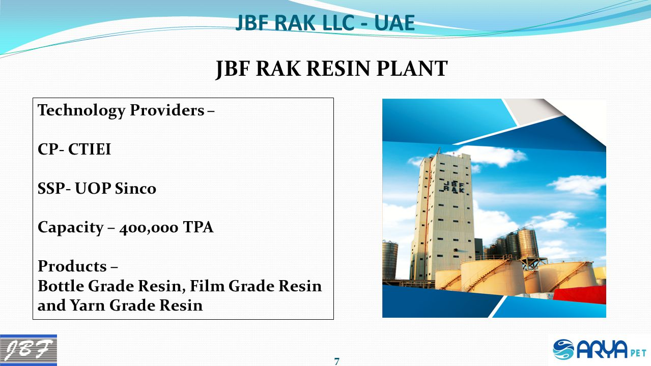 JBF RAK LLC - UAE JBF RAK RESIN PLANT Technology Providers – CP- CTIEI