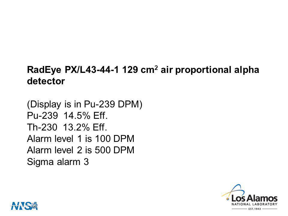 RadEye PX/L43-44-1 129 cm2 air proportional alpha detector. (Display is in Pu-239 DPM) Pu-239 14.5% Eff.
