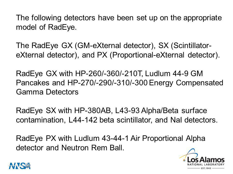 The following detectors have been set up on the appropriate model of RadEye.