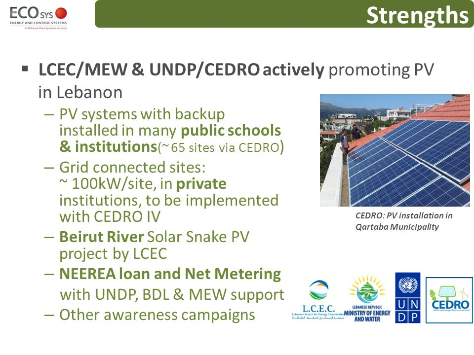Strengths LCEC/MEW & UNDP/CEDRO actively promoting PV in Lebanon