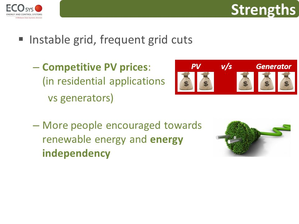 Strengths Instable grid, frequent grid cuts