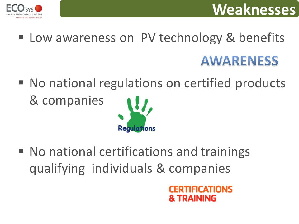 Weaknesses Low awareness on PV technology & benefits