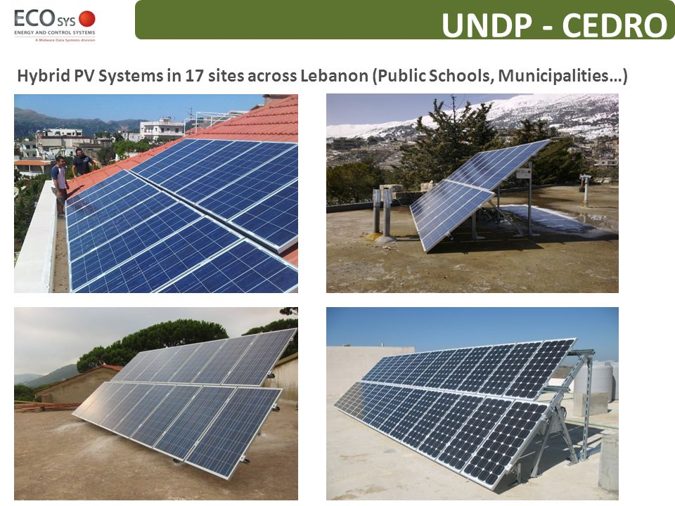 UNDP - CEDRO Hybrid PV Systems in 17 sites across Lebanon (Public Schools, Municipalities…)