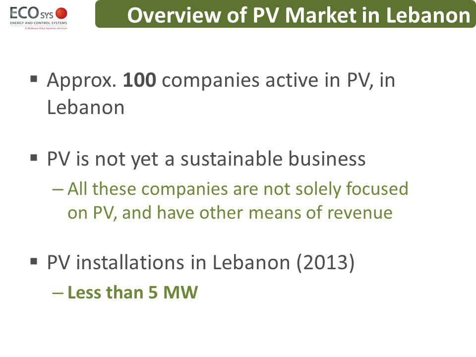 Overview of PV Market in Lebanon