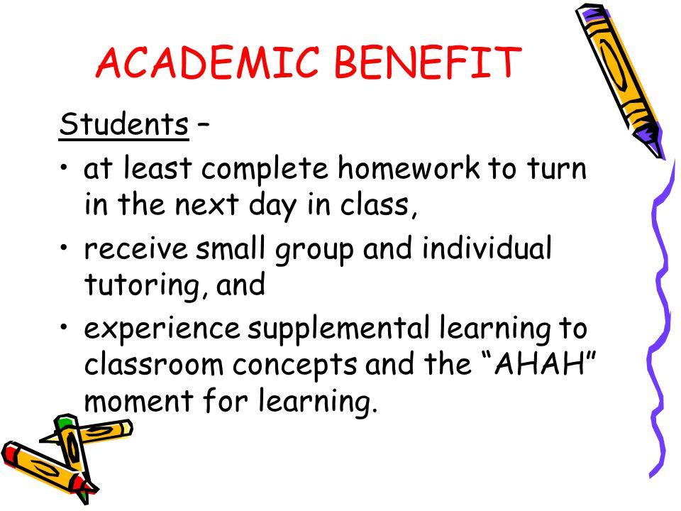 ACADEMIC BENEFIT Students –