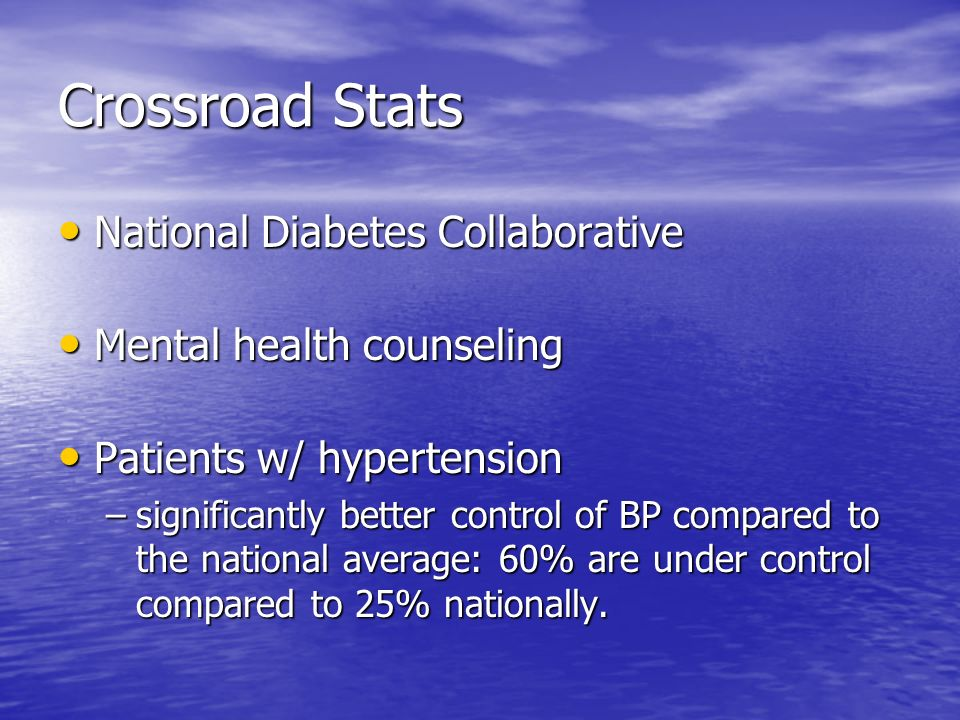 Crossroad Stats National Diabetes Collaborative
