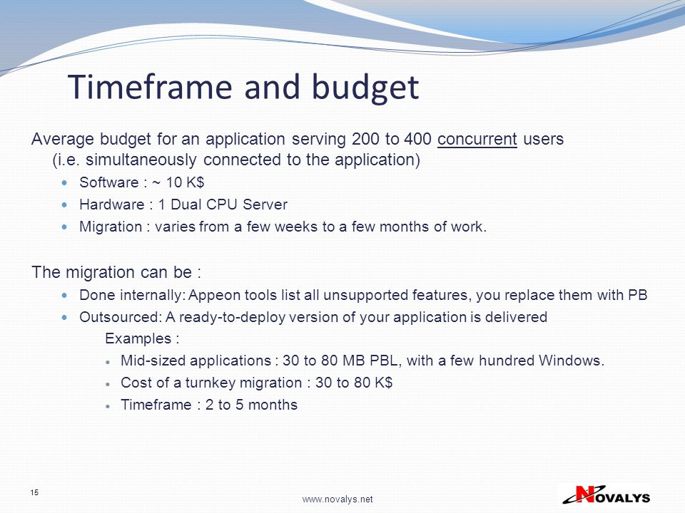Timeframe and budget Average budget for an application serving 200 to 400 concurrent users (i.e. simultaneously connected to the application)