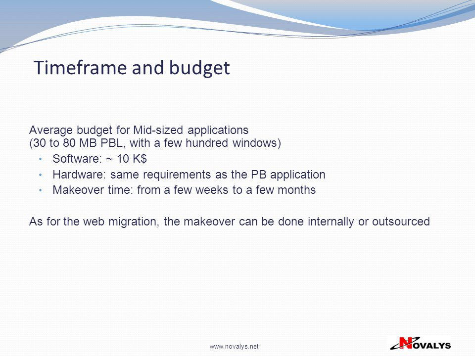 Timeframe and budget Average budget for Mid-sized applications (30 to 80 MB PBL, with a few hundred windows)