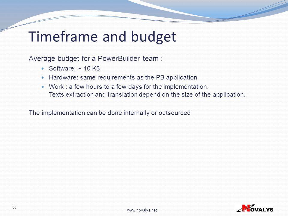 Timeframe and budget Average budget for a PowerBuilder team :