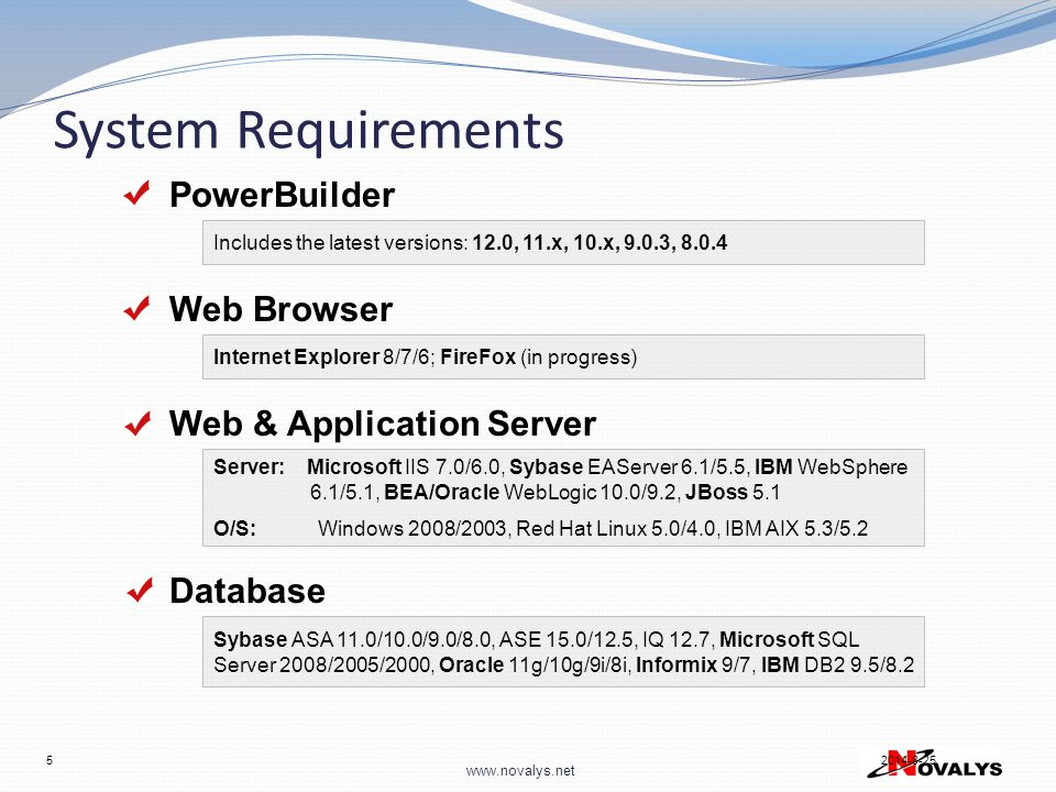 System Requirements PowerBuilder Web Browser Web & Application Server