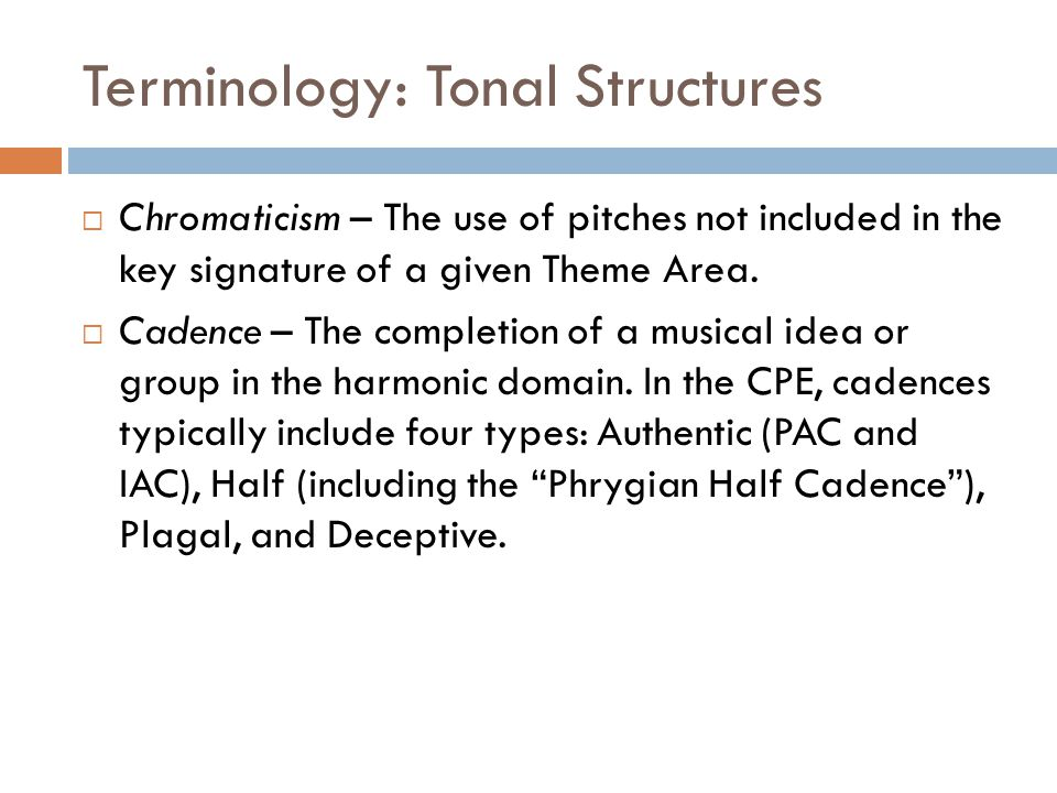 Terminology: Tonal Structures