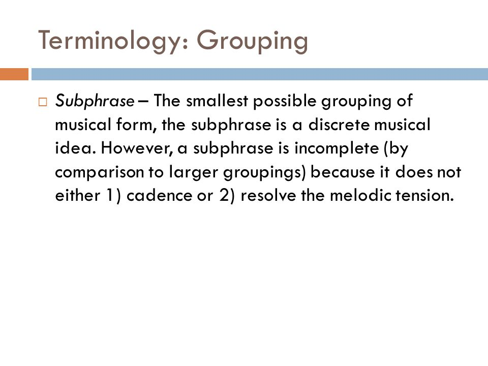 Terminology: Grouping