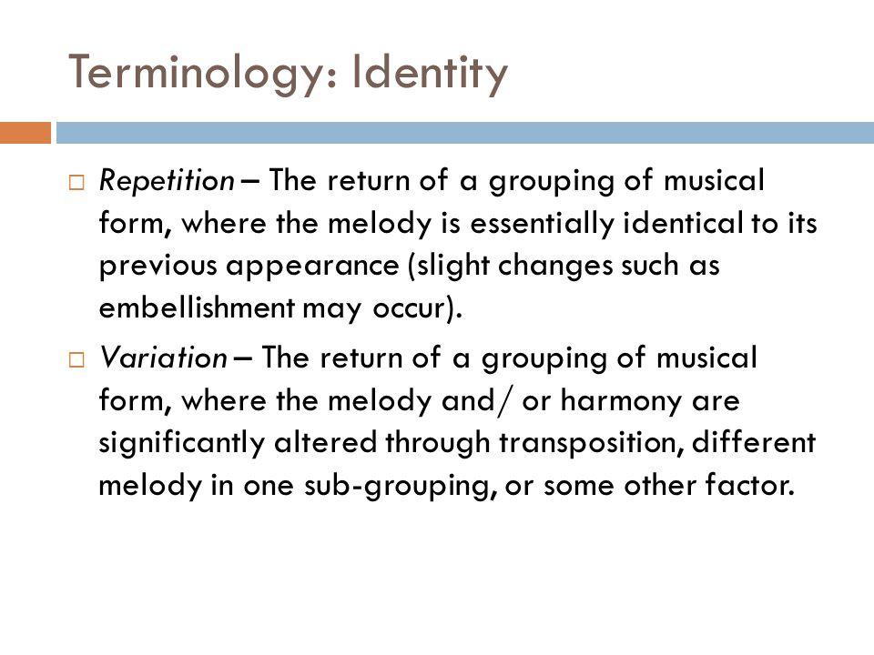 Terminology: Identity