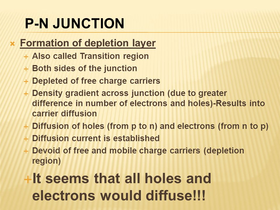 It seems that all holes and electrons would diffuse!!!