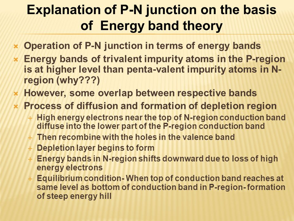 Explanation of P-N junction on the basis of Energy band theory