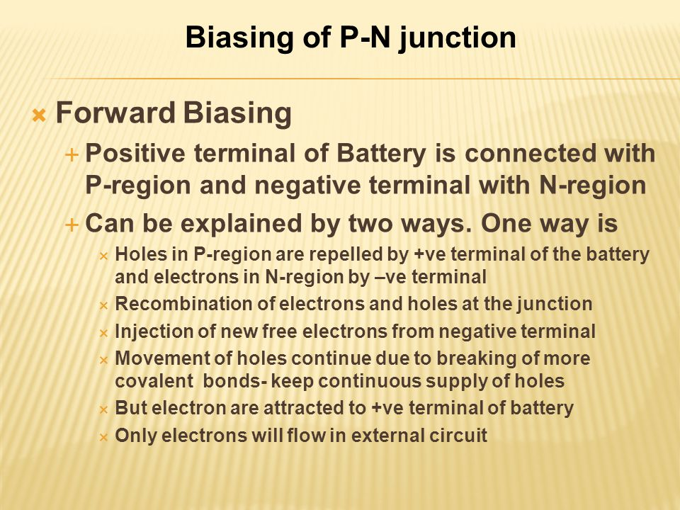 Biasing of P-N junction