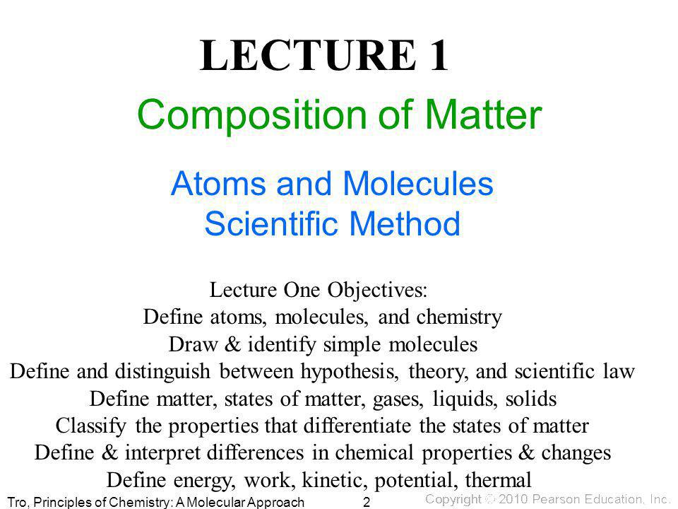 LECTURE 1 Composition of Matter Atoms and Molecules Scientific Method